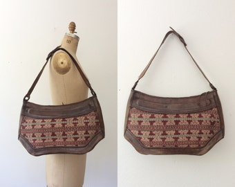 70s leather purse / tribal leather purse / Horizon leather bag
