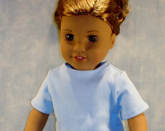 18 Inch Doll Clothes - Blue T Shirt handmade by Jane Ellen to fit 18 inch dolls