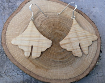 Ginkgo Earrings, Ginkgo leaf Earrings, Natural wood earrings, Boho Jewelry, Nature Lover Gift, 5th year wood anniversary gift, Herbal gift