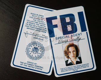 X-Files FBI Badge, Fox Mulder, Dana Scully, Walter Skinner, John Doggett, Monica Reyes, Cosplay FBI Badge,