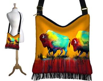 Clara Nilles Hippie Bag Hobo Purse Crossbody Slouch Bag Gyspy Boho Fringe Bag, Buffalo Bison Southwestern Zipper Orange Blue Red Fabric MTO
