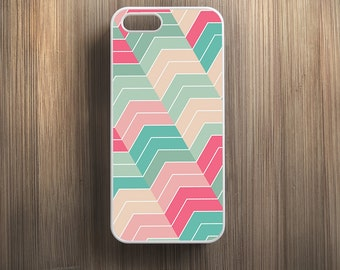 Pink Green Chevron Pattern. iPhone 4/4s, iPhone 5/5s, iPhone SE, iPhone 6, iPhone 6 Plus Case Cover 089
