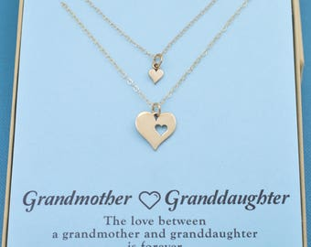 Grandmother Granddaughter necklace set in natural bronze.  Gift for grandmother.  Grandmother gift.  Gift from granddaughter.