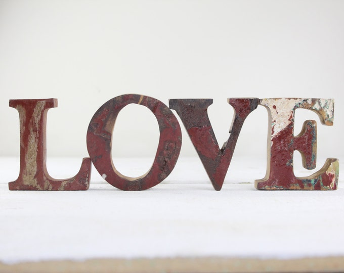 FREE SHIP Beach Decor LOVE  Sign Vintage Style Nautical Wooden by Seastyle