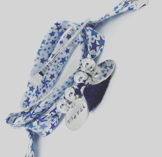 Liberty * Bracelet GriGri Liberty Adelajda with 2 custom ENGRAVINGS and tassel by Palilo XL