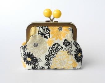 Change Pouch, Metal Frame Balls, Kisslock Coin Pouch, Small Pouch, Credit Card Holder, Purse Accessory, Earbud Holder, Gift For Wife, Yellow