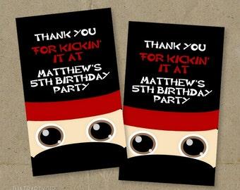 Ninja Birthday Party Thank You Tags - DIY Digital U Print