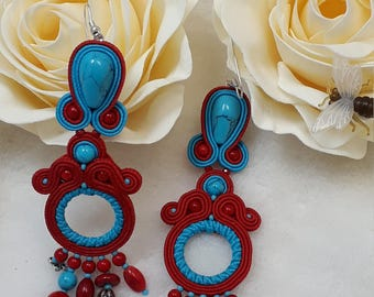 earrings  natural coral soutache