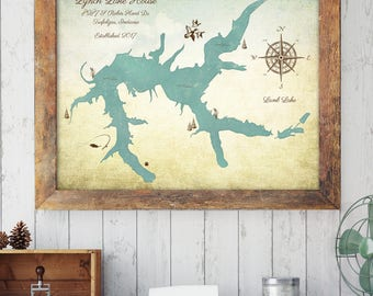 Lake House Decor, Lake House Sign, Custom Lake Map, Lake Decor, Custom