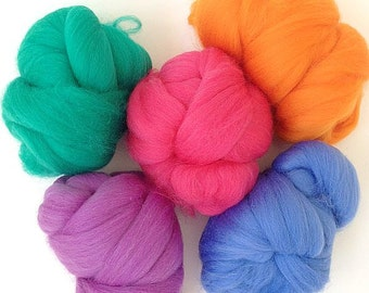 Brights - 5 colours - Dyed Merino Wool Tops - 125g/4.5oz - Wet / Needle Felting, Roving, Spinning