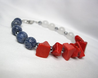 FREEDOM Stone Bead Bracelet; Red Howlite, White Quartzite, Blue Coral, Silver Hematite; Color Block Bracelet; 7 Inch Small-Medium Size
