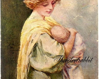 Mother and child*Two 5x7 fabric art quilt blocks*gorgeous*LOOKS hand painted*great for altered art