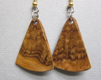 Small Exotic Wood Earrings, Corrugata Burl Handcrafted ecofriendly ExoticwoodJewelryAnd repurposed