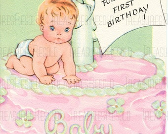 Happy Birthay One Year Old Baby On a Cake Card #417 Digital Download