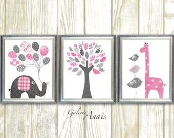 Baby Girl Nursery Decor Pink and Gray Wall Art Elephant Nursery Giraffe Nursery Bird Tree Baby Nursery Wall Art Set of three prints