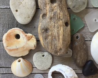 EARTHLY FINDS...23 beach treasures pendants/fossil/shell/coral/jewelry supplies- sea glass- rare-beige brown green white- natural history