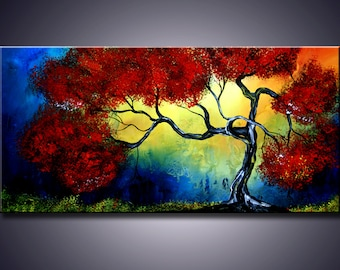 """S.A.L.E. Original Modern Abstract Contemporary Autumn Landscape Foliage Painting 48""""x24"""" Ready to Hang"""