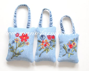 Vintage Denim, Embroidered Linen, Handmade Fragrant Dried Lavender Hanging Sachets, Set of 3, Gifts for Her