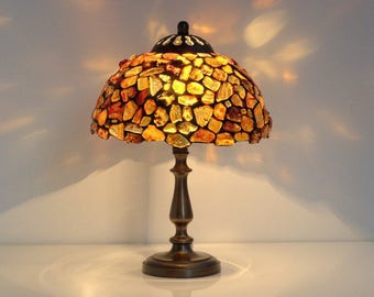 Tiffany lamp. Amber Lamp. Baltic amber lamp shade. Stained glass lamp. Bedside lamp. Lamp in a table. Lamp for nightstand. Lamp for desk