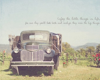 Country Life, Countryside Art, Countryside Decor, Cottage Decor, Shabby Chic Art, Wine Country, Black Truck, Napa Valley, Typography Photo