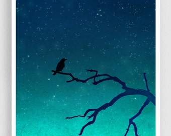 And then... only the silence remains (vertical) - Love illustration Art Print Home decor Nature print Turquoise Blue Night sky Dreamy bird