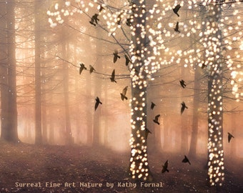 Nature Photography, Surreal Sparkle Fairy Lights Fantasy Woodland, Sparkling Fairytale Trees Birds, Autumn Fall Nature Fine Art Photography