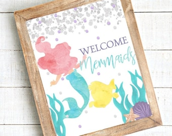 DOWNLOADABLE Little Mermaid Welcome Sign, Ariel Birthday Sign, Little Mermaid Party Decorations, Mermaid Birthday Decor, Welcome Mermaids