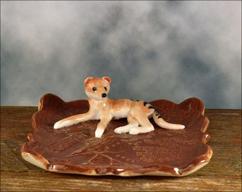 Tasmanian tiger Figurine ring dish - hand sculpted - OOAK Australian ceramics Australian pottery Anita Reay  teabag holder Thylacine