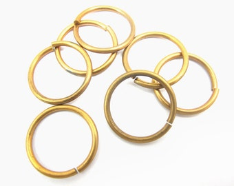 HUGE Red Brass Round Jump Rings 19mm - (16X) (F544)