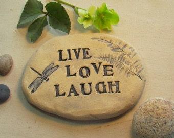 Live Love Laugh sign for outdoors. Carved Brick garden stone. Garden art - sculpted clay plaque. Dragonfly garden decor