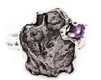 Iron Campo del Cielo meteorite with amethyst sterling silver handmade  ring