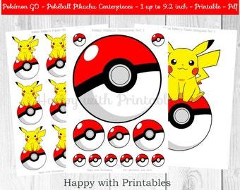 Pokemon GO Pikachu Centerpieces - Pokeballs Centerpieces - Pokemon GO - Pikachu - Pokemon Centerpieces - Pokemon party - Pokémon printable