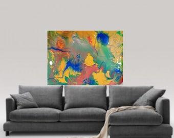 Green Original modern painting wall art decor acrylic modern abstract painting paper fine art print  fine wall art painting print giclee art