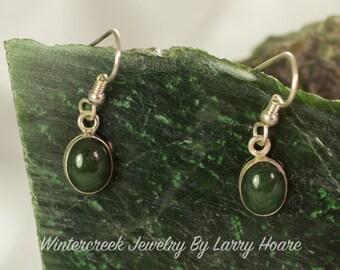 Handmade Alaska Jade Oval Earrings 8x10mm