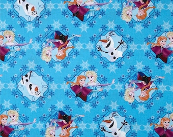 Disney FROZEN, OLAF the snowman and Sisters in Frames on Blue By-the-HALF-yard 100% cotton Quilt Fabric