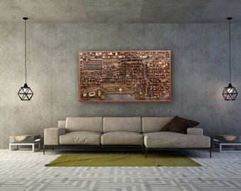 """Chicago cityscape wood wall art, made of old reclaimed barn wood. 54""""x30""""x4"""" Large wall art, wood wall sculpture"""