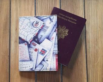 Leather passport case - letter