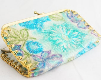 Coin Purse - Pastel Floral Sparkle Teal Purple with Gold Stitching