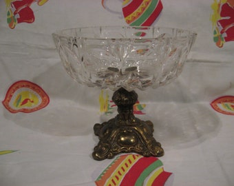 Lovely, large Hollywood Regency crystal and brass compote