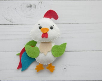 Felt rooster ornament Rooster kitchen decor Felt  Spring ornaments  Easter decoration  Felt farm bird Easter ornament farm animals