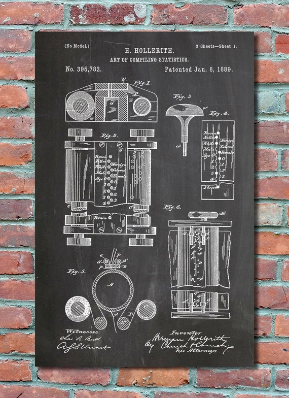 First computer patent 1889 patent art patent print like this item malvernweather Image collections