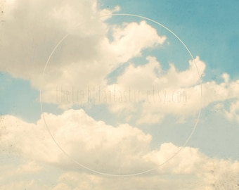 Laugh at the Sky Square Fine Art Print--Cloudy Sky Spring Summer Daydreaming Youth Blue White Home Decor Wholesale
