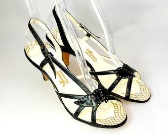 Vintage 1940s Sandals | Black Leather | Open Toe | Size 7