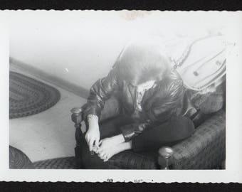 Vintage Snapshot Photo Woman Cutting Toenails 1960's, Original Found Photo, Vernacular Photography
