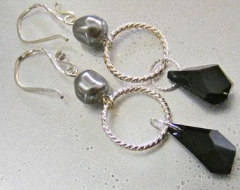 Black and Gray Swarovski Crystal and Pearl Dangle Earrings