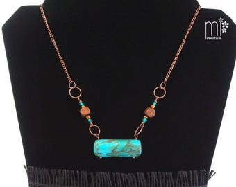 Marbled Turquoise Barrel Faux Stone Pendant Necklace