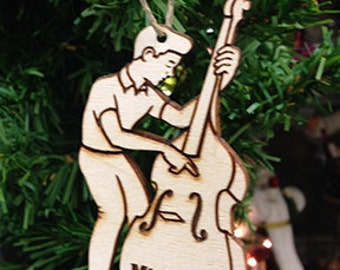 Bass Player 2 Personalized Christmas Ornament