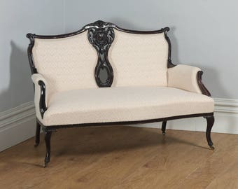 Antique English Victorian Rococo Carved Mahogany Couch (Circa 1880)