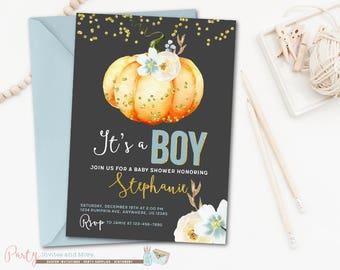 Pumpkin Baby Shower Invitation, Pumpkin Invitation , Boy Baby Shower Invitation, Fall Baby Shower Invitation, Fall Invitation, Pumpkins