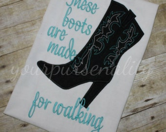 Cowboy boot - high heel shirt - glitter heel - country girl - embroidered shirt - handmade by yourpursenality - boots are made for walking